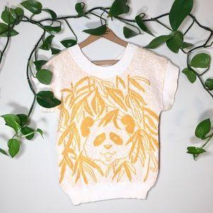 Vintage knit panda mustard sweater blouse